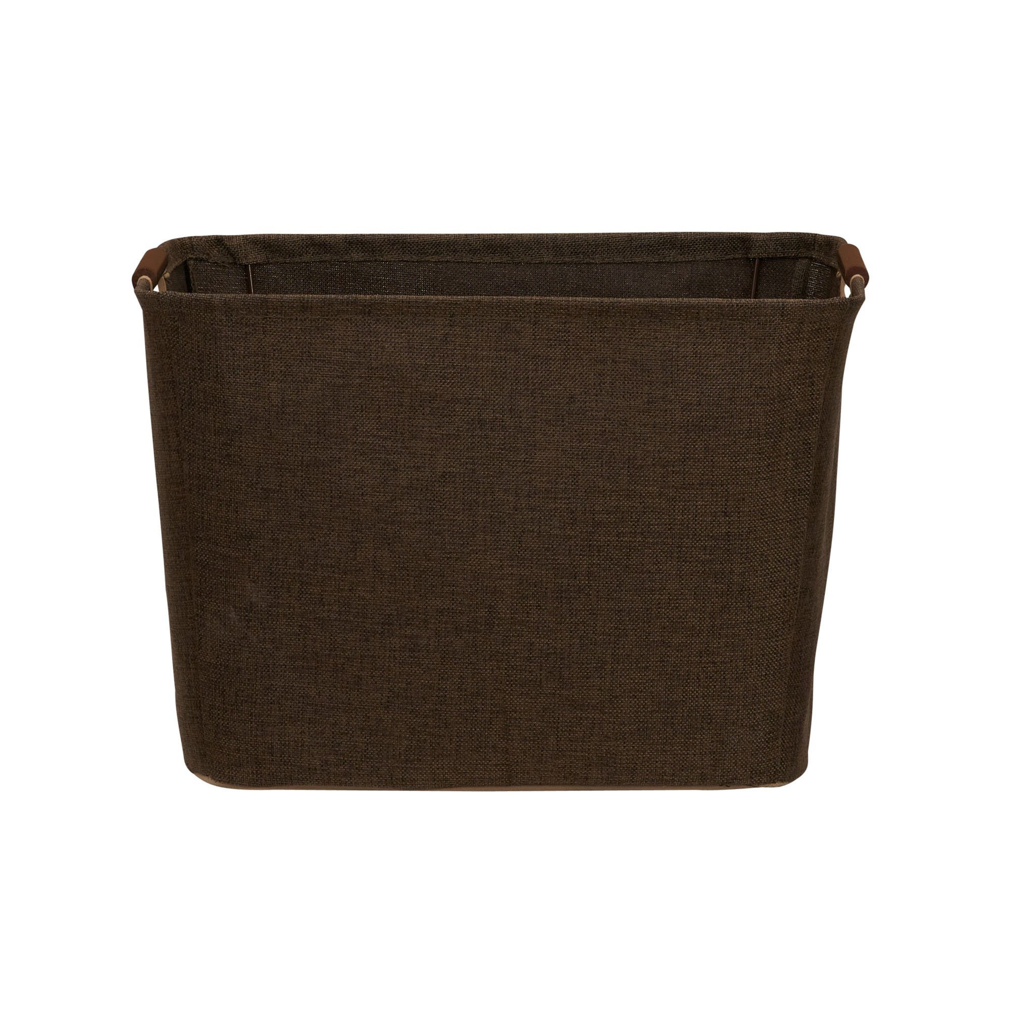 Household Essentials 601 Medium Shelf Basket with Wood Handles   Multi-Purpose Home Storage Bin   Brown Coffee Linen