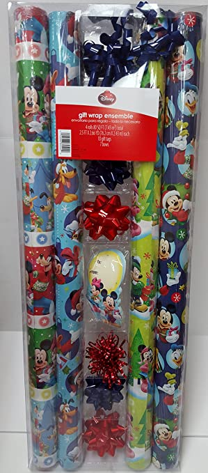 Amazon.com: Disney Mickey Mouse & Friends Christmas Wrapping Paper ...