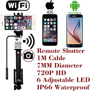 Upgraded WiFi Wireless Endoscope Built-in Remote Shutter Borescope 7mm 2MP 6 LED 720P IP66 Tube Waterproof Snake Inspection Camera System, for iPhone iOS ipad Samsung Android Smartphone by AttoPro-1M