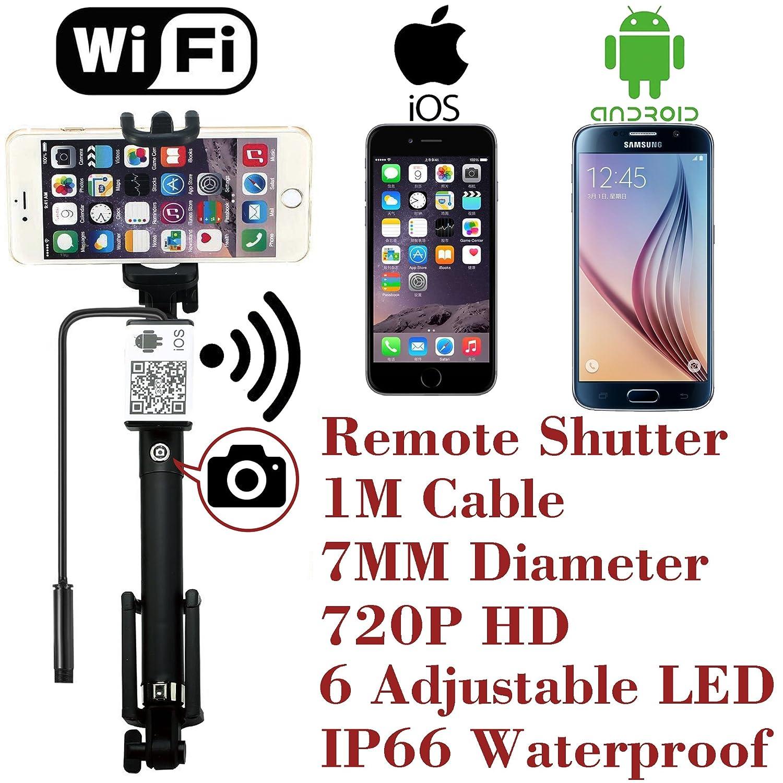 アップグレードWiFiリモートシャッター内蔵ワイヤレス内視鏡ボアスコープ7 mm 2 MP 6 LED 720p ip66チューブ防水ヘビ検査カメラシステム、for iPhone IOS iPad Samsung Androidスマートフォンby attopro-1 m B01MQLX9SS
