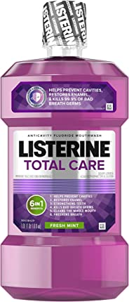 Listerine Total Care Anticavity Mouthwash, 6 Benefit Fluoride Mouthwash for Bad Breath and Enamel Strength, Fresh Mint Flavo