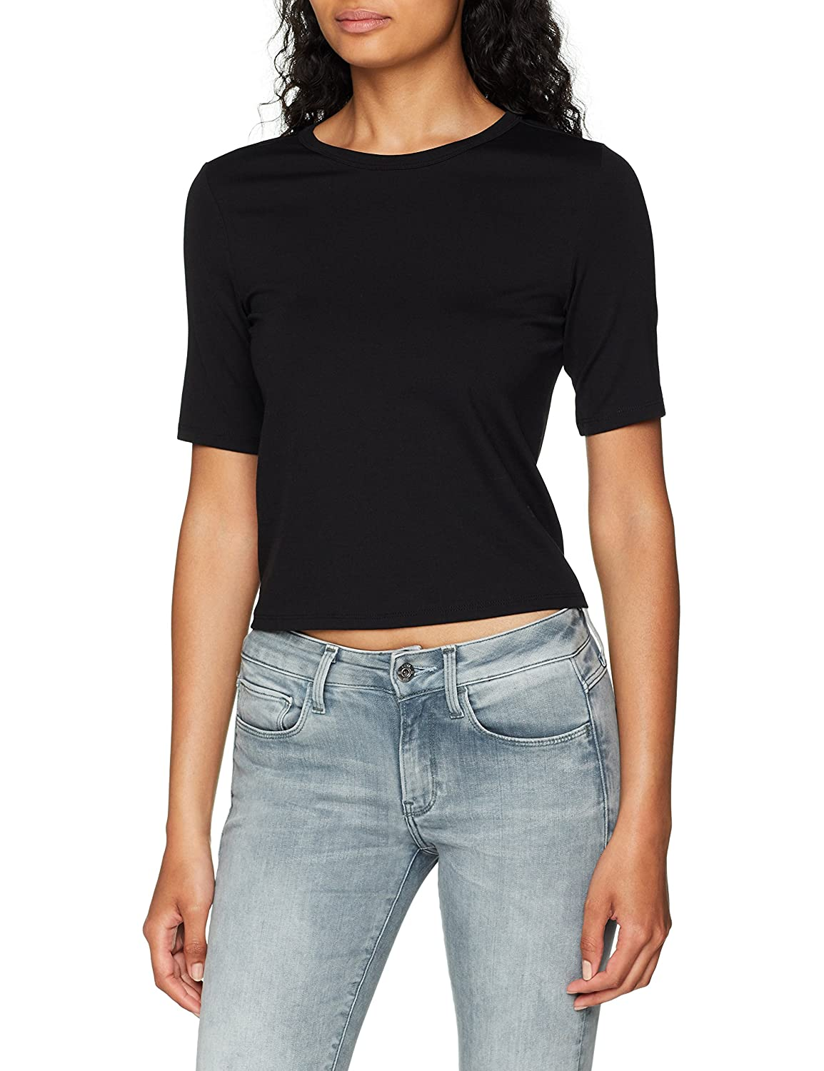 TALLA L. G-STAR RAW Silber Cropped R T Wmn S/S Camiseta para Mujer