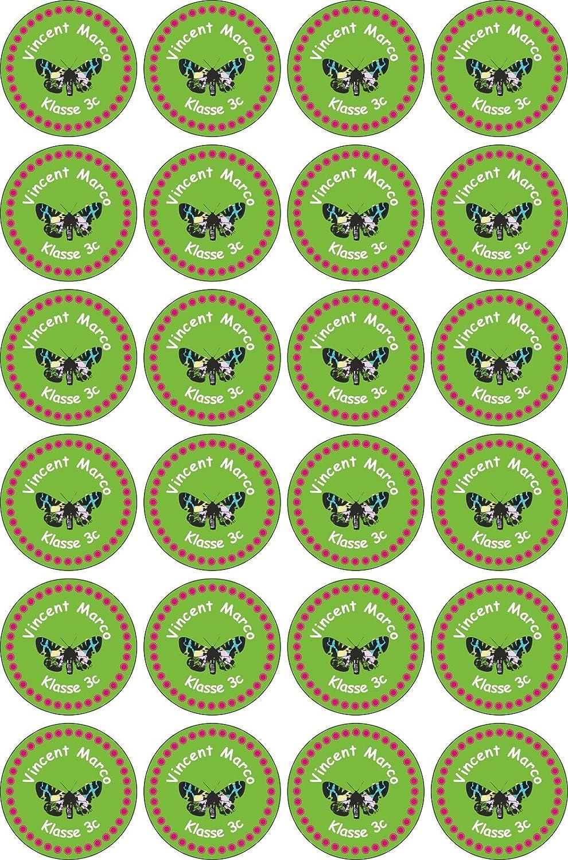 JINTORA etiquetas personalizadas para nombre- 40x40mm - 048 - papillon - 24 piezas para niños, escuela y jardín de infancia - Pegatinas Personalizadas: Amazon.es: Oficina y papelería