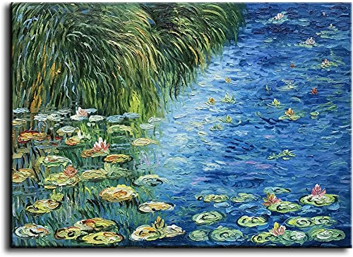 baccow – 2436 Texture 3D Hand Painted Water Lily Pond 1914 Claude Monet Oil Paintings Reproduction Framed Claude Monet Wall Art for Living Room Bedroom Office Home Decoration for Gifting