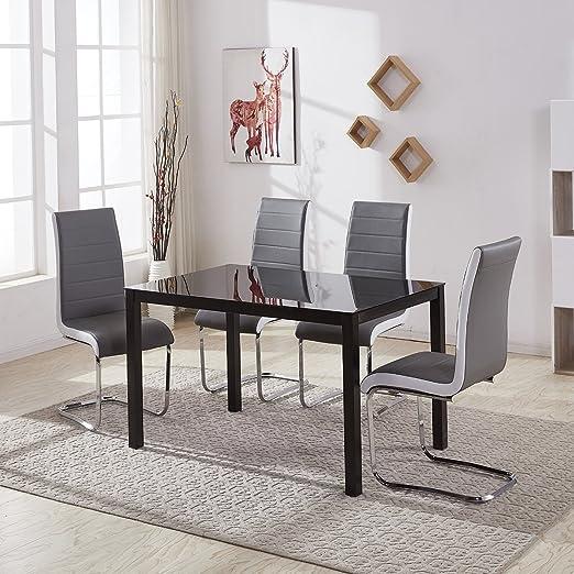 gizza grande cristal mesa de comedor y 4 o 6 sillas, de cuero ...