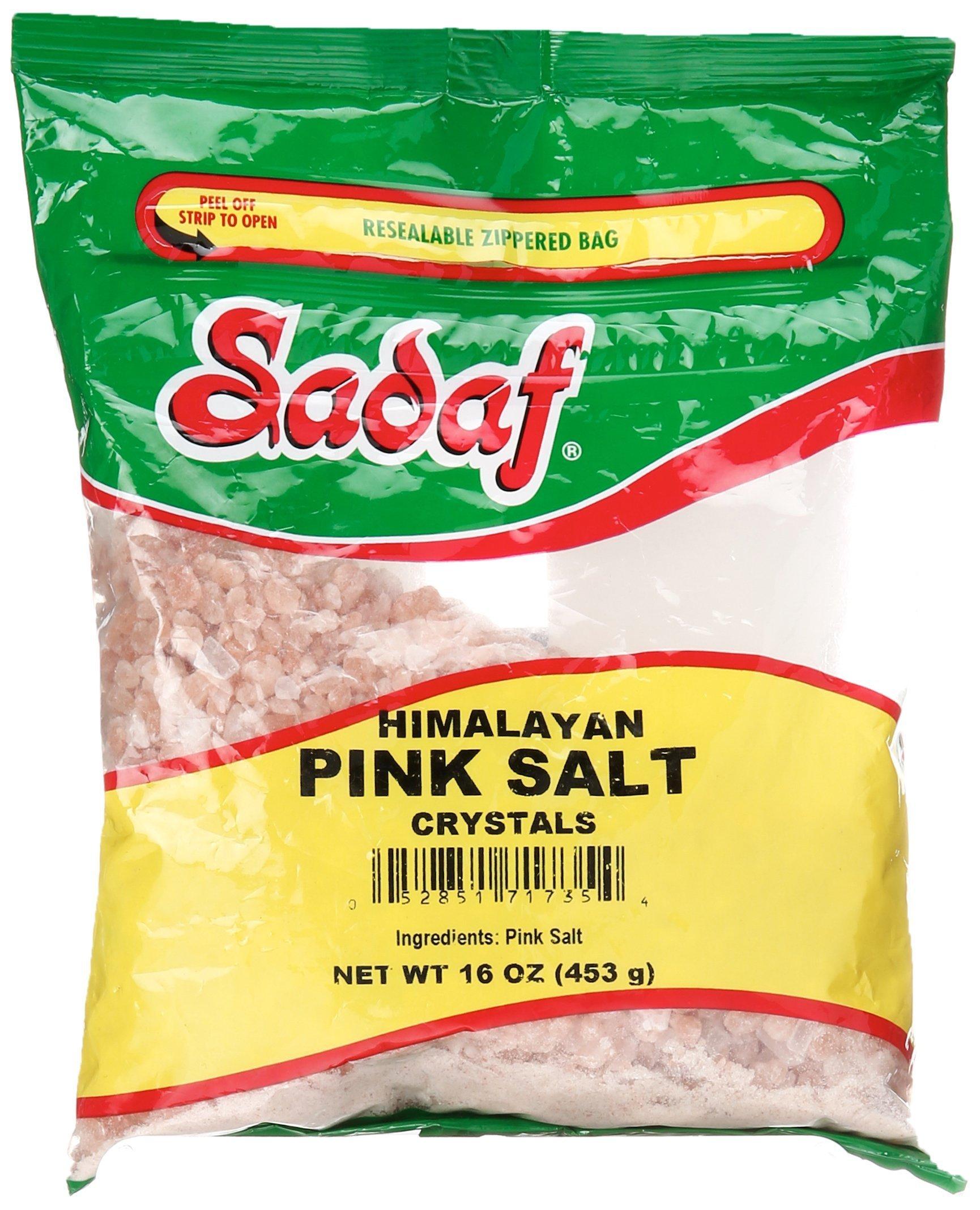 Sadaf Himalayan Pink Salt, Reusable Bag, Coarse Grain Crystals, 1 lb.