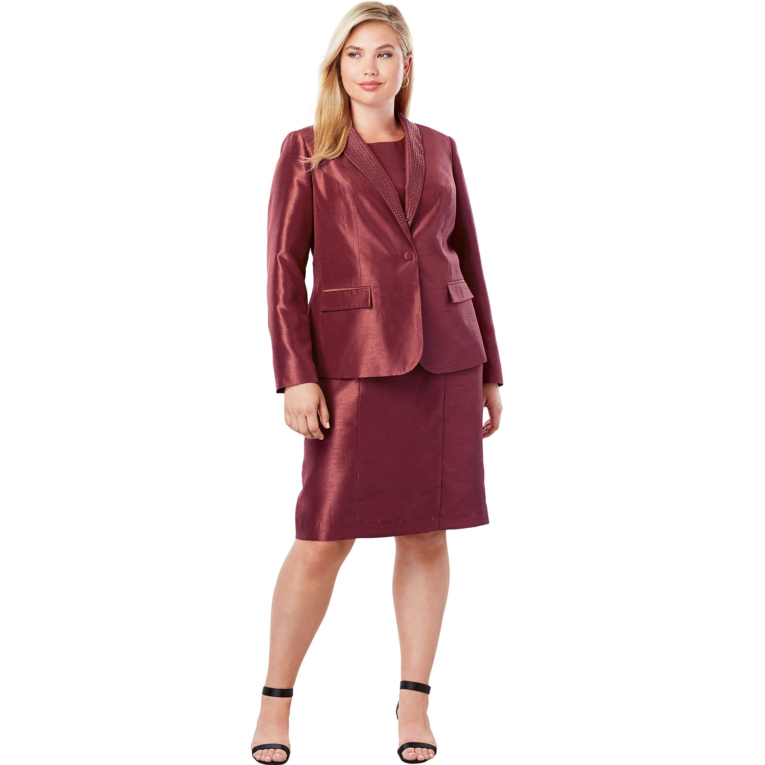 Jessica London Women's Plus Size Jewel Jacket Dress - Burgundy, 24 W by Jessica London
