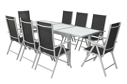 Villana Muebles de Jardín Set, plata/negro, Aluminio/textil ...