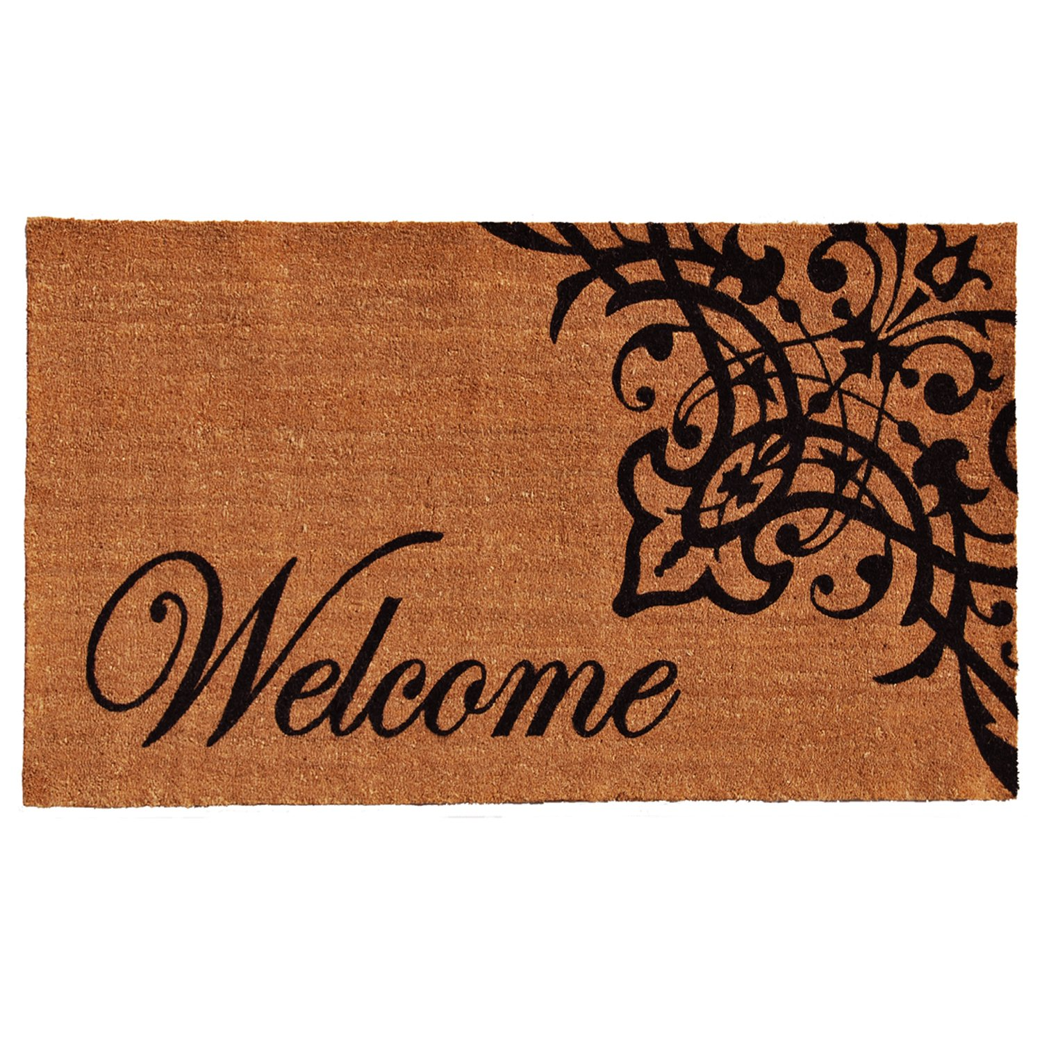 Home & More 121352436 Scroll Welcome Doormat, 24'' x 36'' x 0.60'', Natural/Black