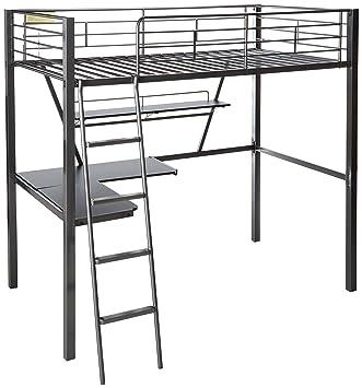 Black Loft Bed With Desk Clear Plastic Mat For Desk