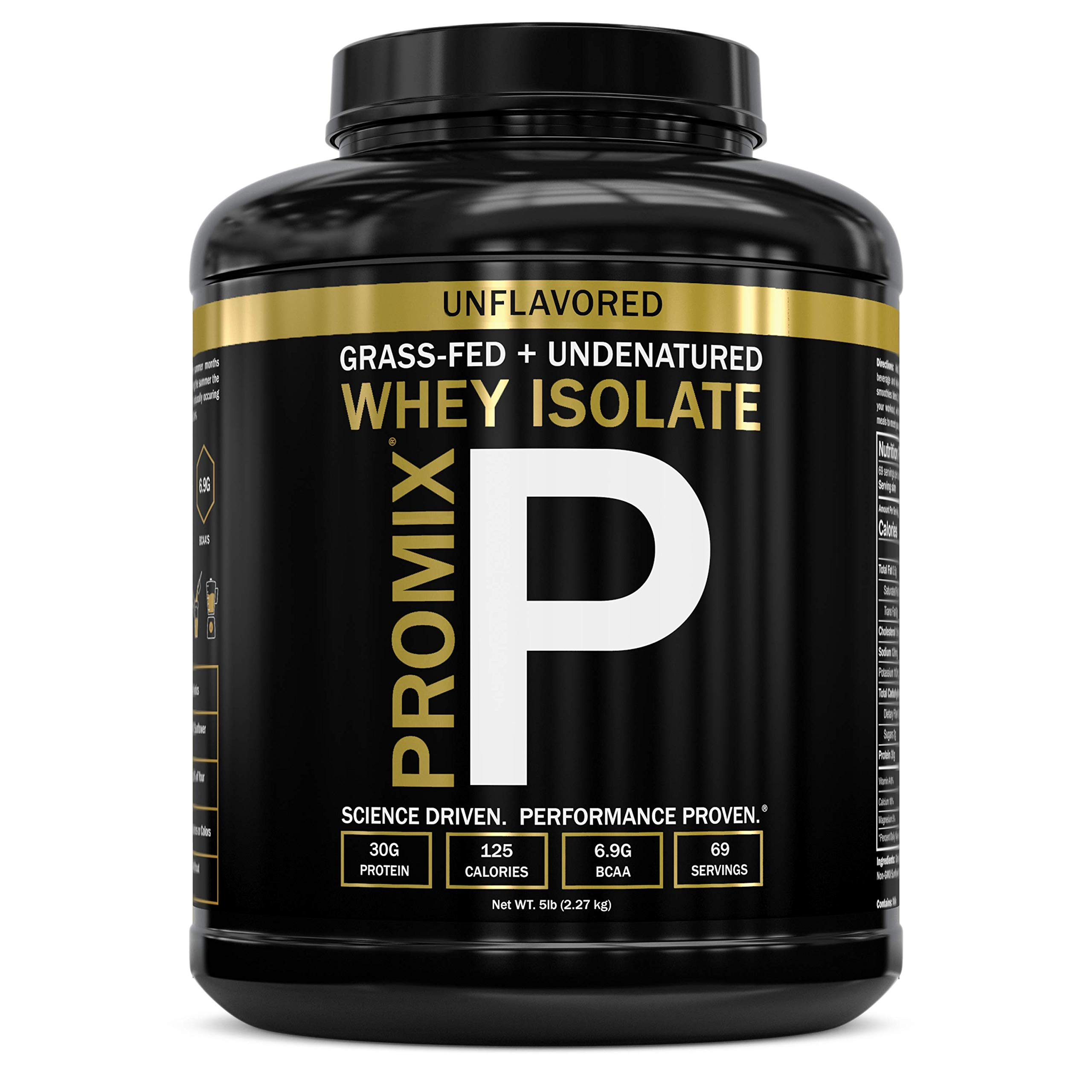 Native Whey Protein Isolate Powder Concentrate: PROMIX Standard 100 Percent All Natural Grass Fed & Undenatured Best Optimum Fitness Nutrition Shakes & Energy Smoothie Bowls: Unflavored 5lb by ProMix Nutrition