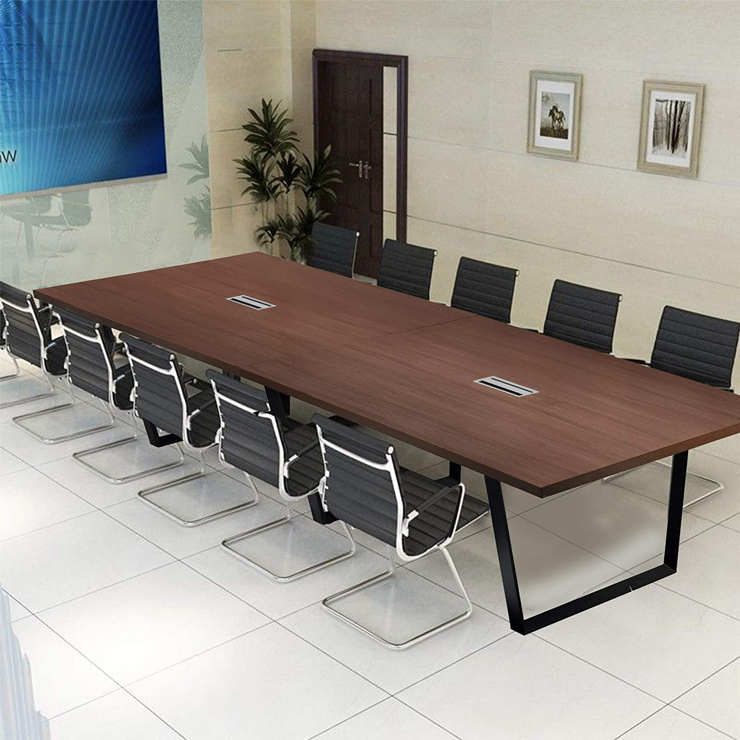 Modern Stylish Boardroom Desk with Metal Frame /& Legs 12 Foot Conference Room Table Easy-to-Assemble Meeting Room Table Keeps Your Cables /& Wires Hidden