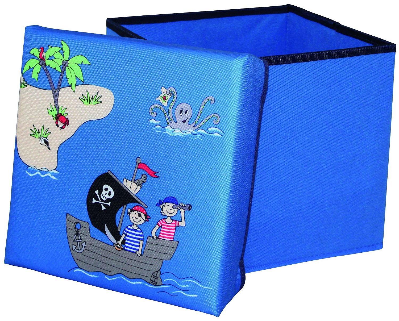 Sitzbox Pirat faltbar blau - stabiler Sitz-Würfel mit Stauraum für ...