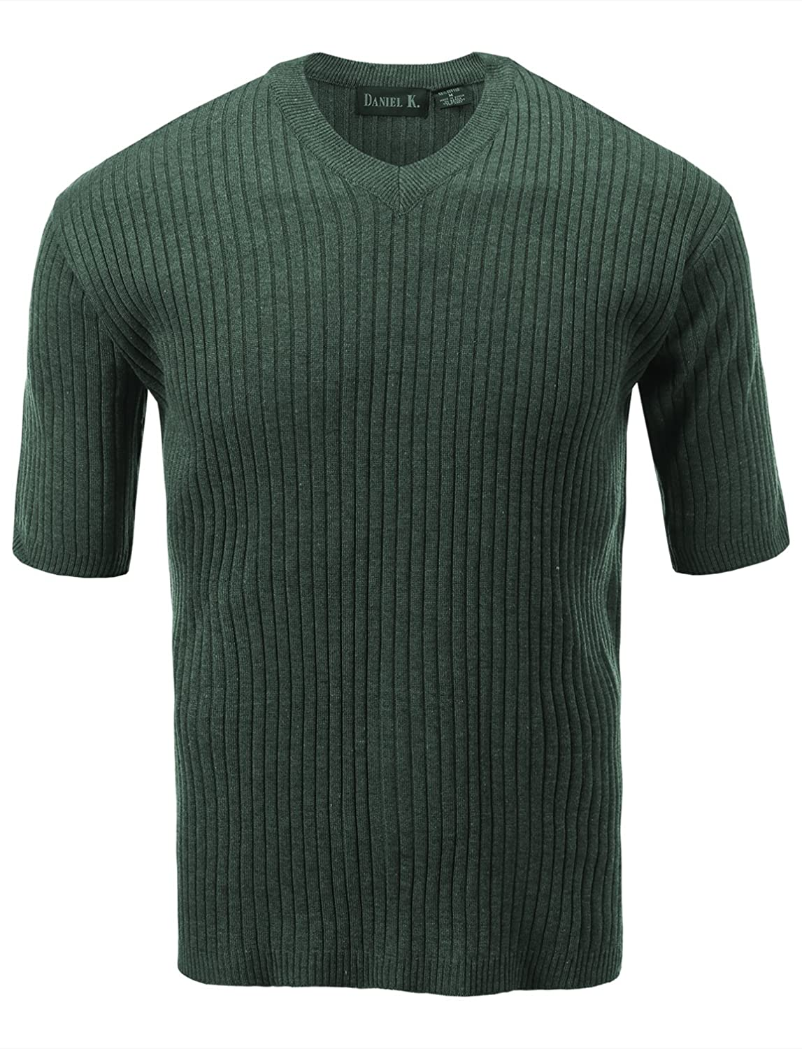 7Encounter Men's V Neck Short Sleeve Large Ribbed Sweater