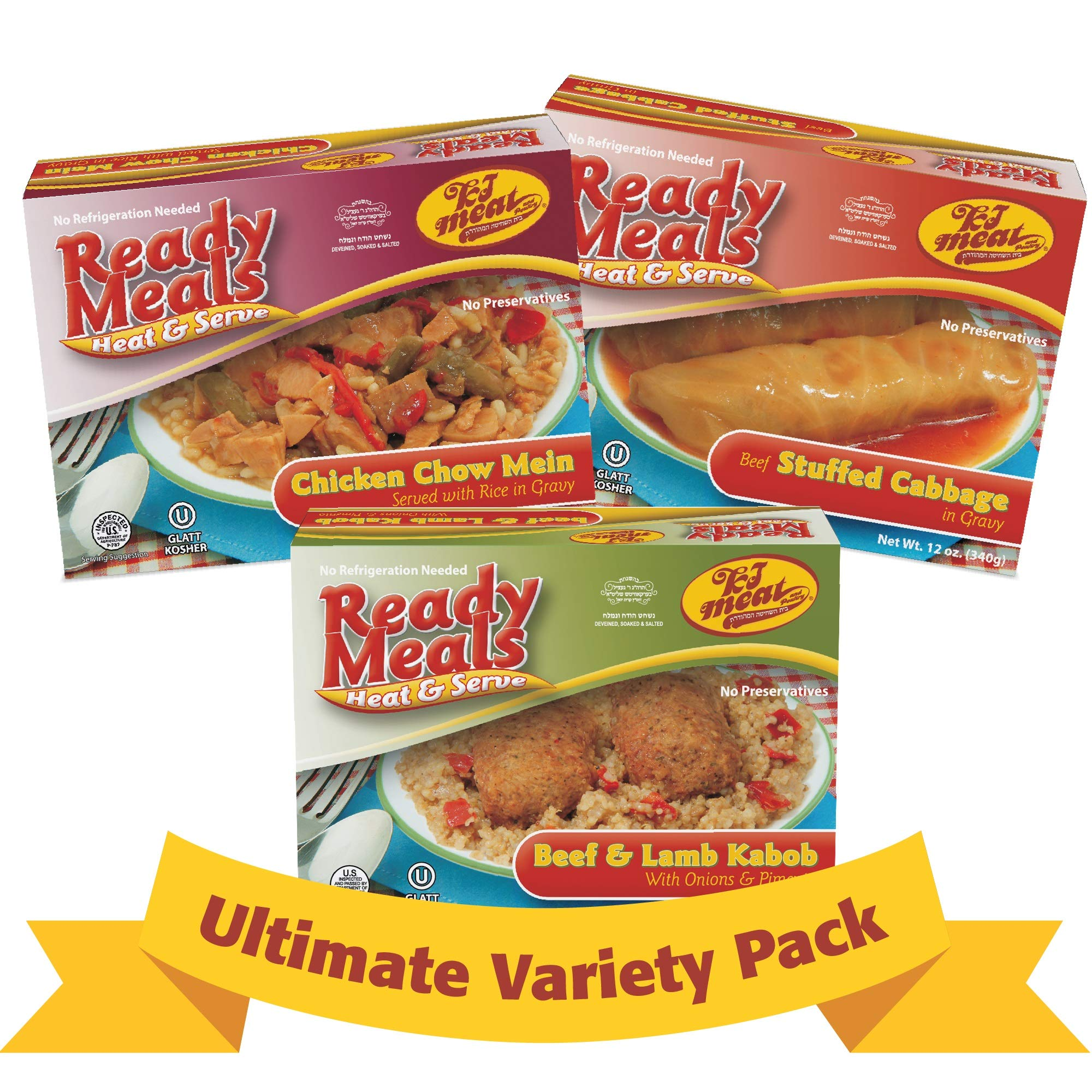 Kosher Meals Ready to Eat, Kosher Ultimate Variety Pack, Beef Stuffed Cabbage, Chicken Chow Mein, Beef & Lamb Cabob (Microwavable, Shelf Stable), Dairy Free - Glatt Kosher (12 ounce - Pack of 3) by KJ Poultry