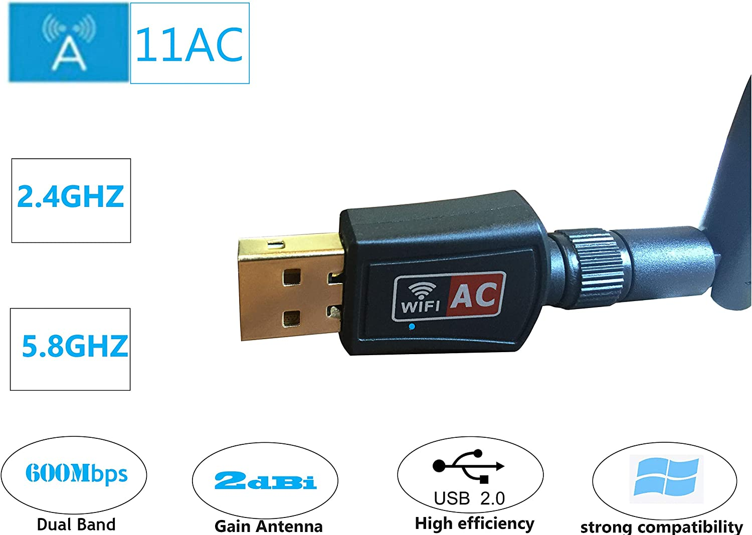 802.11N//G//B//AC Antenna Network Lan Card for Windows XP//Vista//7//8//10,Mac OS,Linux 600Mbps Dual Band 2.4Ghz//5.8Ghz Wireless USB Wifi Adapter for Laptop and Desktop