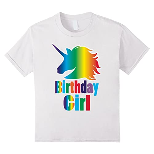 Kids Rainbow Unicorn Birthday Girl Shirt - Rainbow Birthday Party
