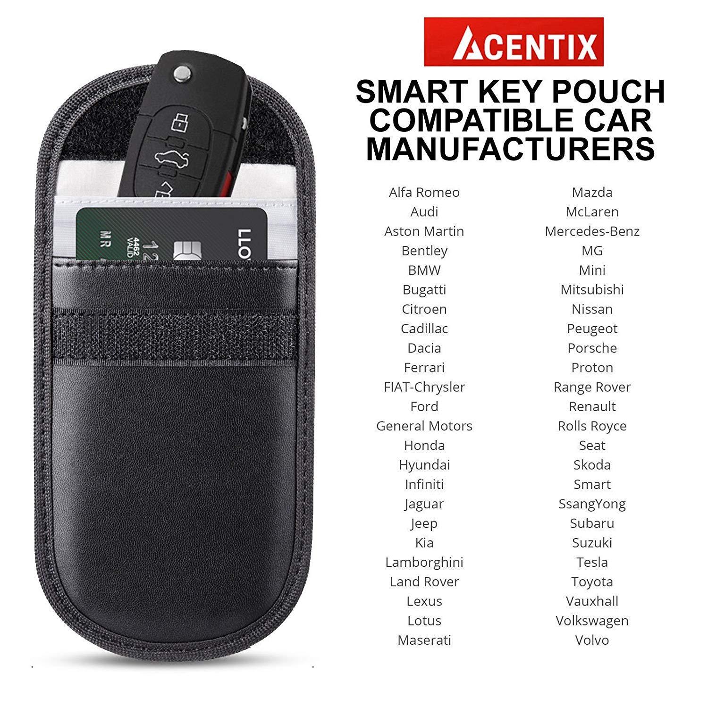 ACENTIX - 3 Bolsas de Bloqueo para Llaves de Coche Faraday para Llaves de Coche, RFID para Proteger el Coche de Robo, Bloqueo de Llaves de Coche sin Llave, ...