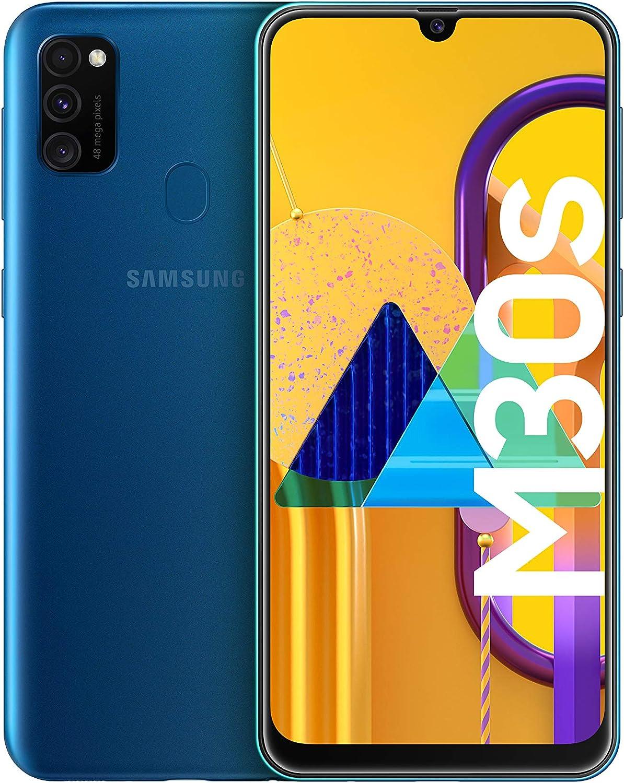Samsung Galaxy M30s - Smartphone Dual SIM, pantalla 16.21 cm sAMOLED FHD+, camara 48MP, 4 GB RAM, 64 GB ROM, bateria 6000 mAH, Android, azul [Versión española, Exclusivo Amazon]