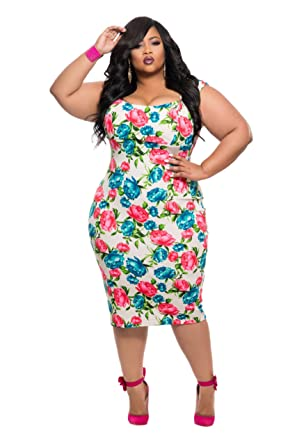 Chic And Curvy Womens Plus Size Bodycon Dress In Blue And Redpink