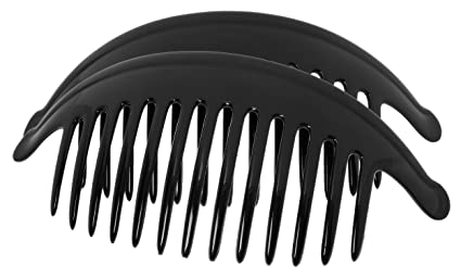 Beautiful Set of 2 Interlocking Black Comb Hair Clip with Rhinestone