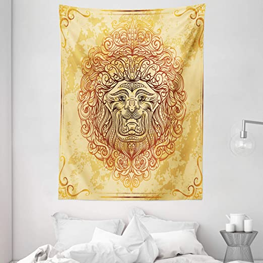 Amazon Com Ambesonne Safari Tapestry Zodiac Lion Baroque Motifs On Grunge Aged Background Pride Sign Astrology Theme Wall Hanging For Bedroom Living Room Dorm 60 X 80 Yellow Orange Home Kitchen