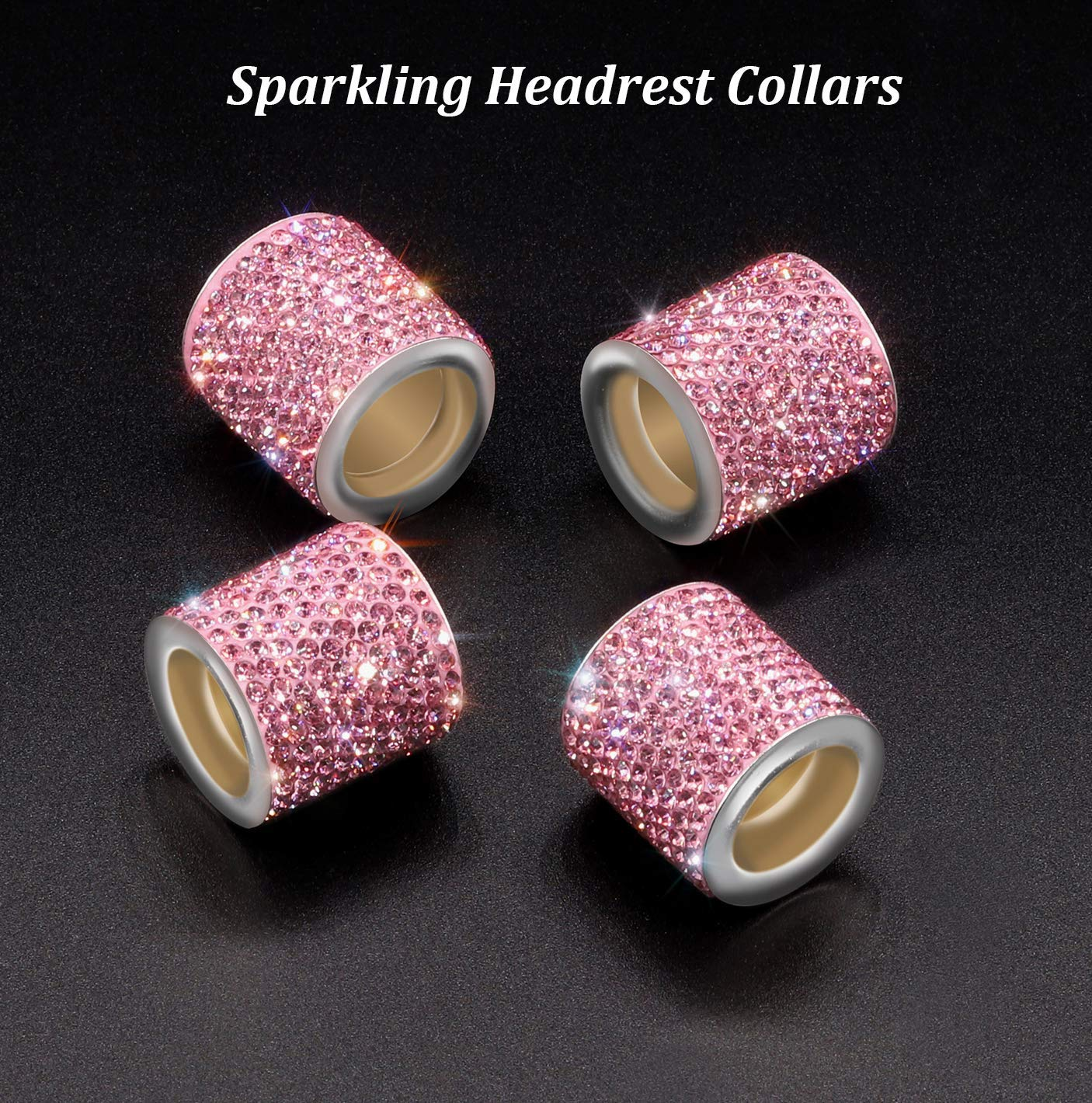 4 Pack, Pink EKIND Crystal Car Seat Headrest Collars Decoration Charms for Auto Car Truck SUV Vehicle