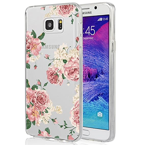best service fa8f4 f66b8 Galaxy Note 5 Case, Note 5 Case for Girls, Ueokeird Clear Soft Flexible TPU  Watercolor Flowers Floral Printed Back Cover for Samsung Galaxy Note 5 ...