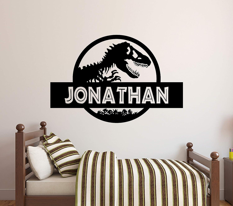 "Custom Name Jurassic Era Wall Decal - Personalized Tyrannosaur T-Rex Wall Decor - Dinosaur Wall Art Design Kids Room Bedroom Art Mural Vinyl Wall Sticker (34""W x 22""H)"