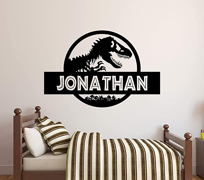 "Custom Name Jurassic Era Wall Decal - Personalized Tyrannosaur T-Rex Wall Decor - Dinosaur Wall Art Design Kids Room Bedroom Art Mural Vinyl Wall Sticker (22""W x 14""H)"