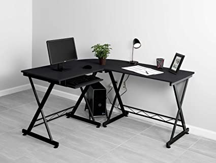 Genial Fineboard Home Office Corner Desk, L Shaped, Black