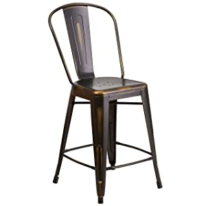 Flash Furniture 24'' High Distressed Copper Metal Indoor-Outdoor Counter Height Stool with Back