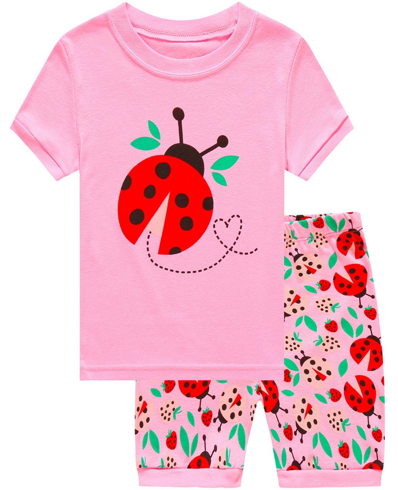 Babyroom Girls Short Pajamas Toddler Kids Pjs 100% Cotton Sleepwear Summer Clothes Shirts 3T
