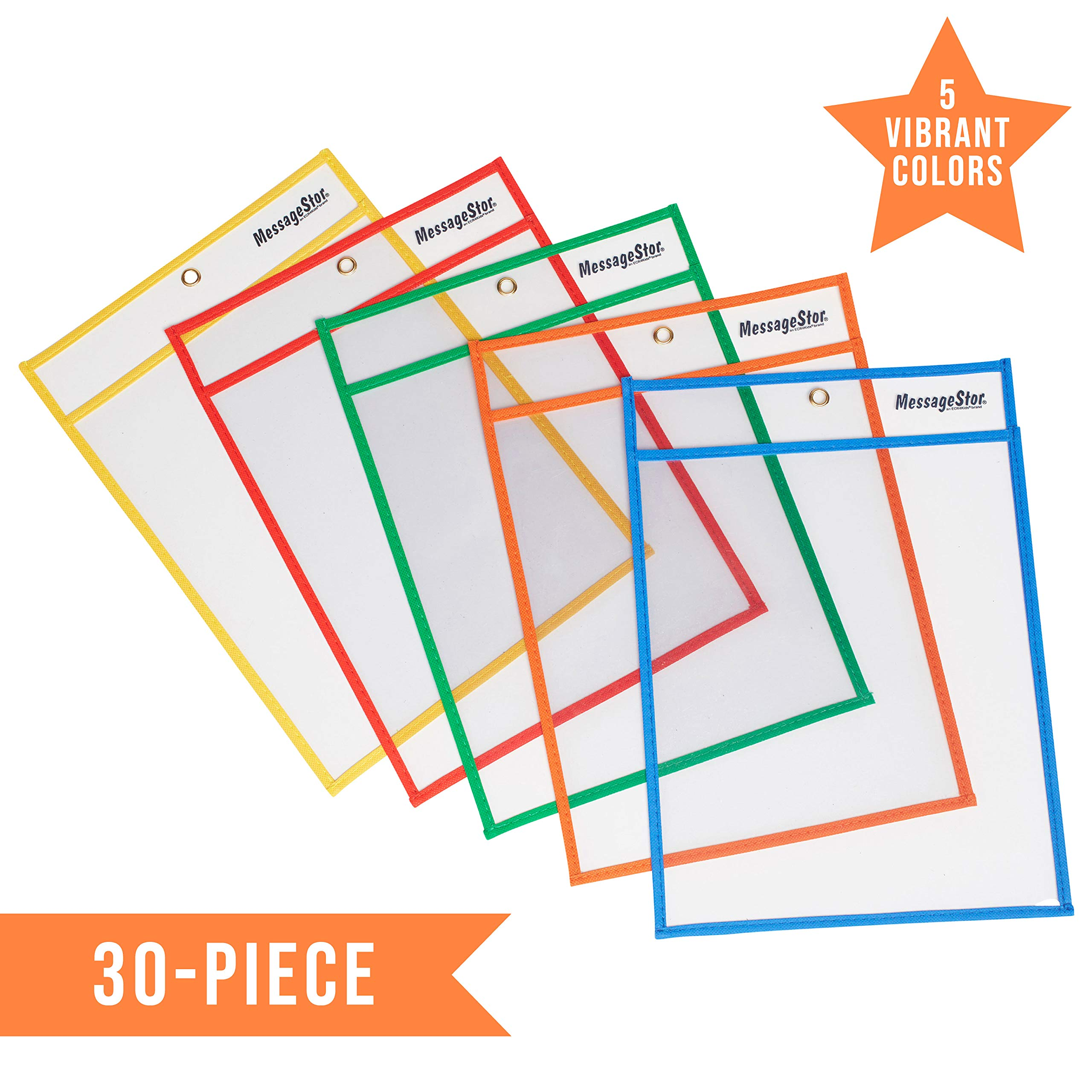 ECR4Kids MessageStor Dry-Erase Reusable Clear Pockets, Flexible Plastic Sleeves with Easy Load Design, School and Home Learning Worksheets, Teacher Supplies, 10'' x 14'', 30-Piece, Assorted by ECR4Kids