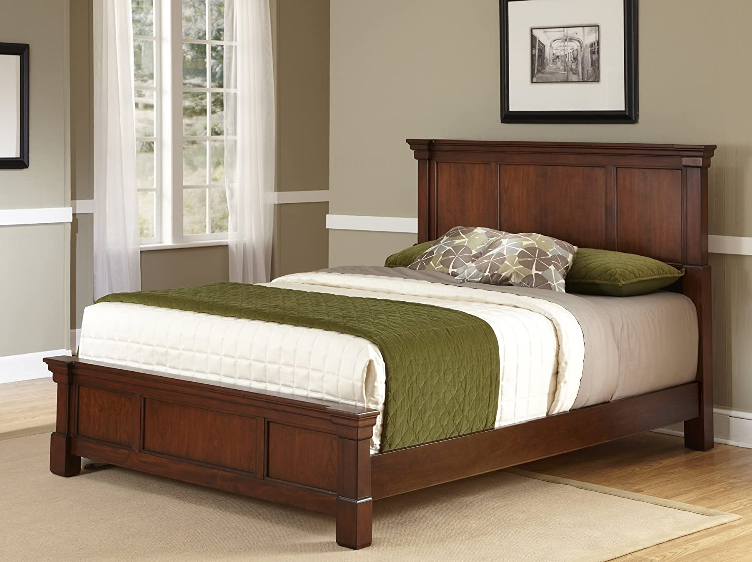 Amazon Com The Aspen Rustic Cherry Queen Bed By Home Styles Furniture Decor