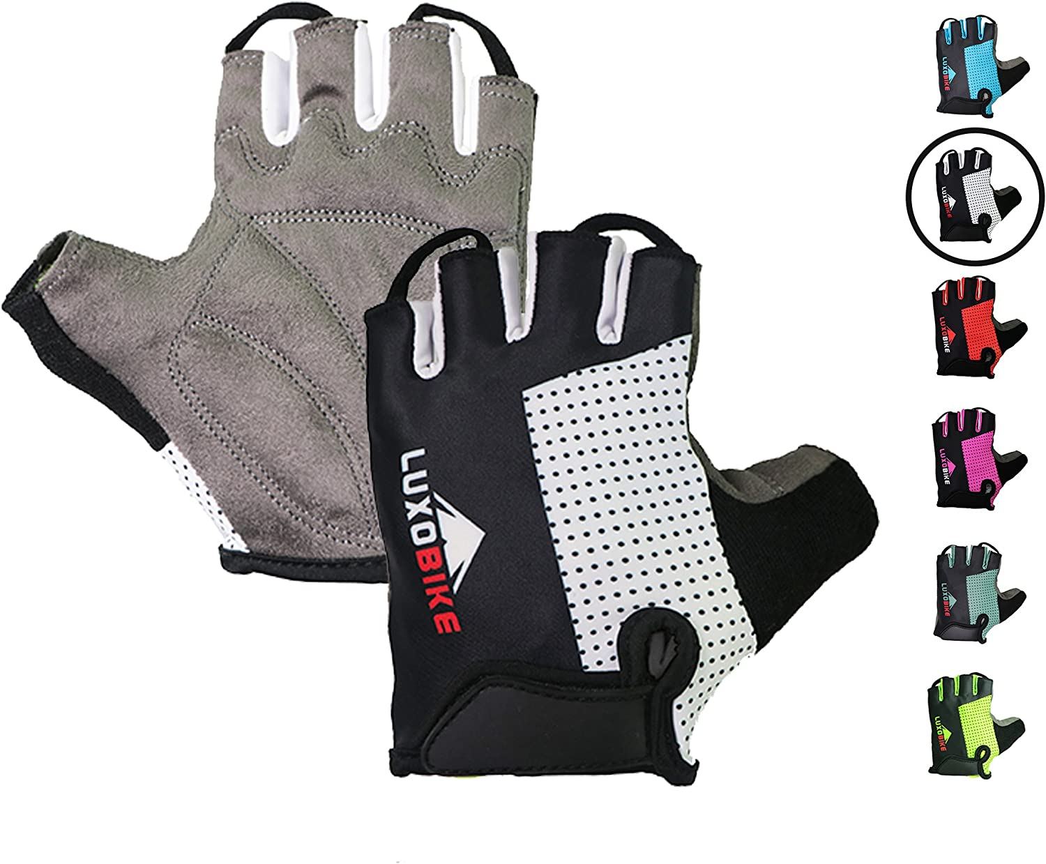 LuxoBike Cycling Gloves Bicycle Gloves Bicycling Gloves Mountain Bike Gloves – Anti Slip Shock Absorbing Padded Breathable Half Finger Short Sports Gloves Accessories for Men/Women: Clothing