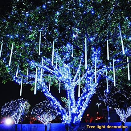 Great Coohole LED Meteor Shower Rain Lights,Outdoor Meteor Shower LED 60cm 8  Tubes String Waterproof Outdoor Xmas Lights For Holiday Xmas Tree Halloween  Wedding ...