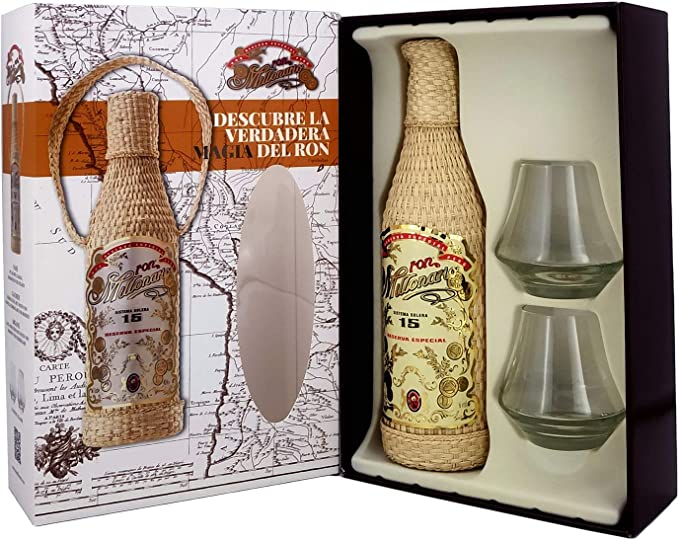 Ron Millonário 15 Years Old Solera Reserva Special Rum with 2 Glasses Gift Pack - 700 ml
