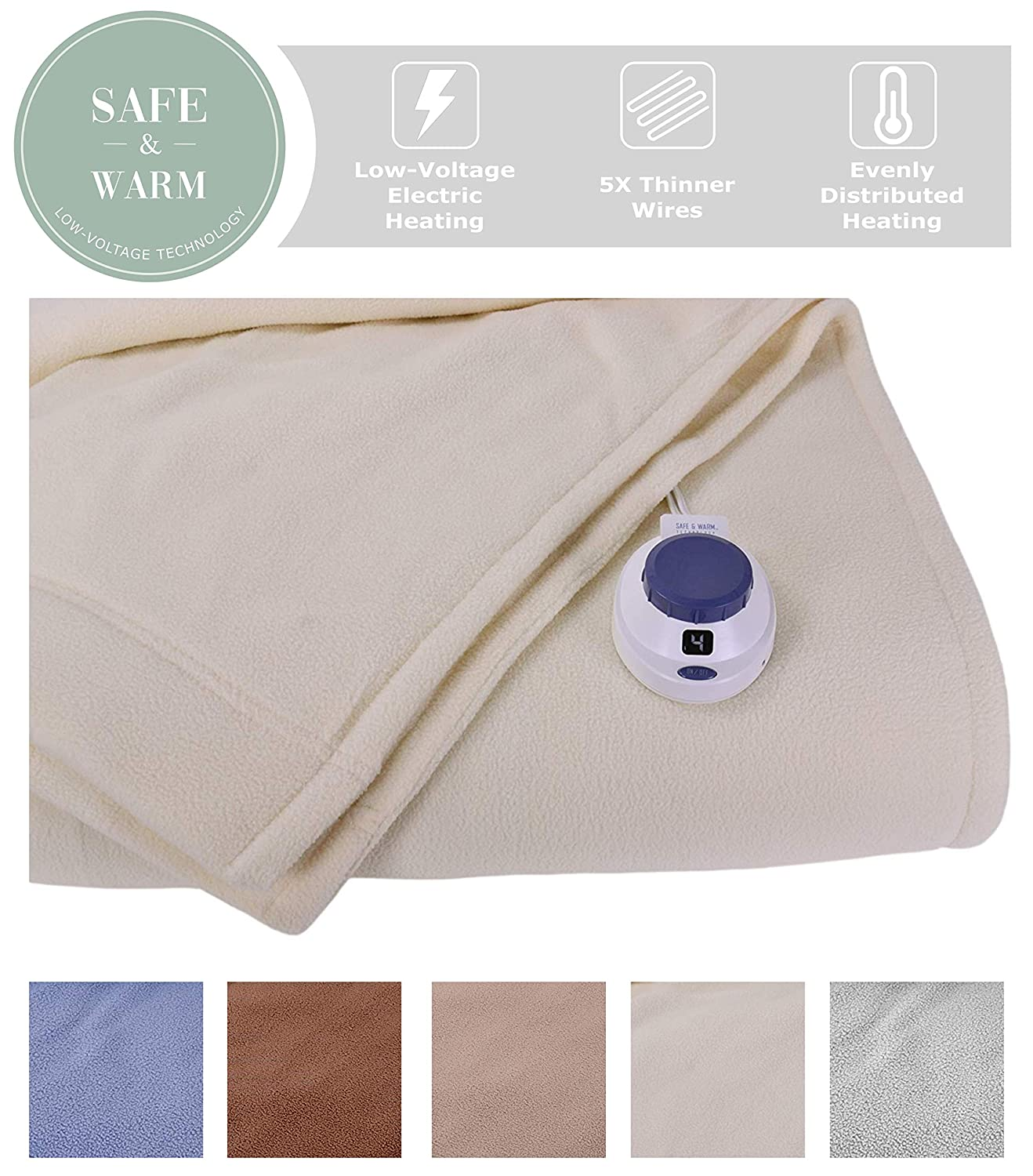 SoftHeat by Perfect Fit | Luxury Micro-Fleece Low-Voltage Electric Heated Blanket (Full, Natural)