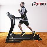 Fitifito 510A Laufband 3PS 12km/h mit LCD Bildschirm, 8 Zonen Dämpfungssystem, 25 Trainingsprogrammen - Klappbar, Schwarz