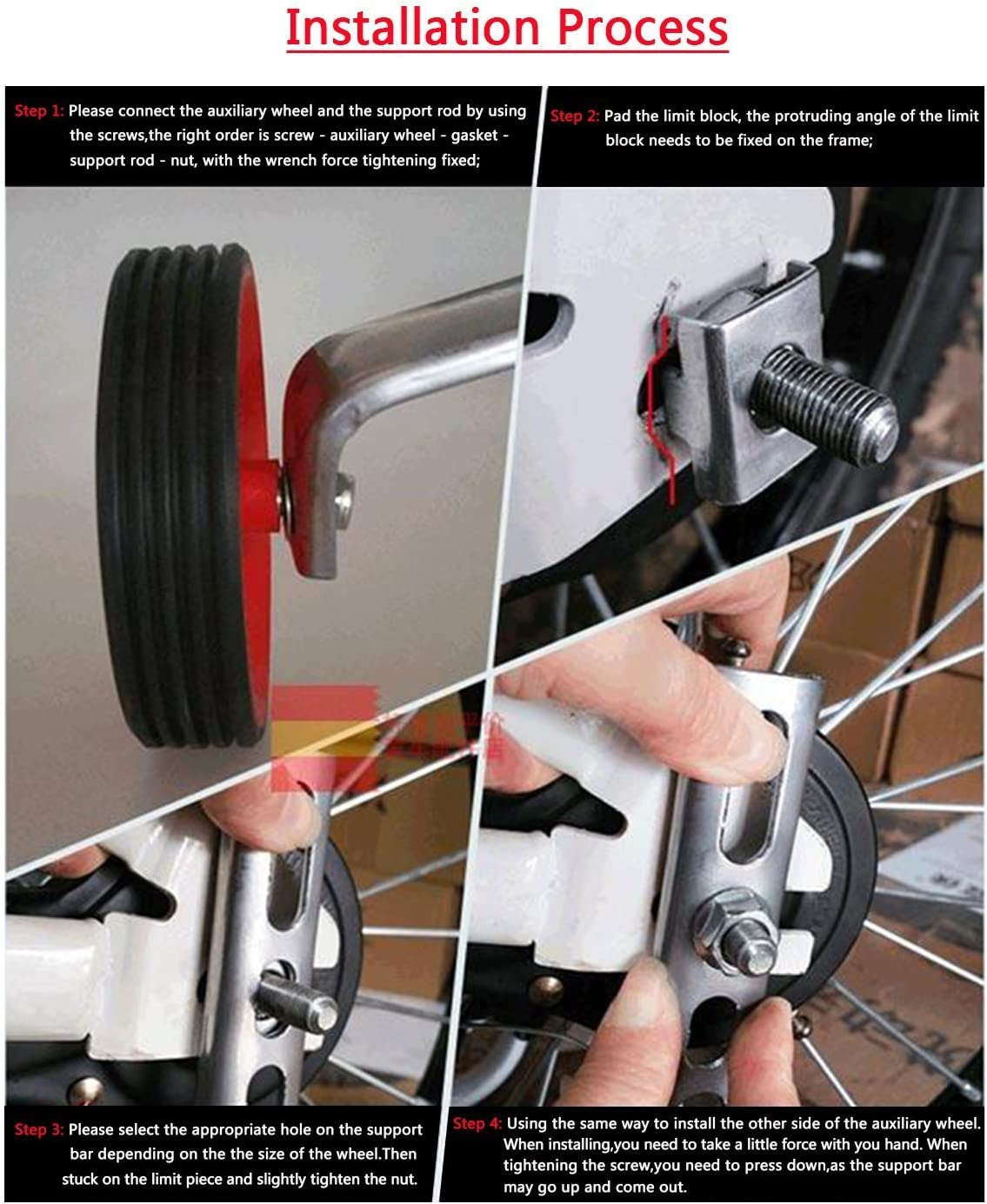 White hongxinq Bicycle Training Wheels Universal 12-20 inch Children Bike Side Wheels