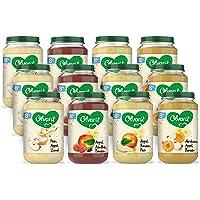 Olvarit Variatiemenu Fruit - fruithapje voor baby's vanaf 8+ maanden - 4 verschillende smaken babyvoeding - 12…