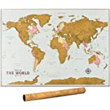 Scratch Off Map of The World - World Scratch Off Map with Outlined Canadian and US States | World Map Scratch Off Poster with Highly Detailed Cartography | XL Large Size 33 x 24 Inches | Vintage Map