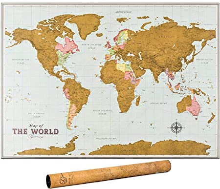 Scratch Off Map of The World – Premium Edition – World Scratch Off Map with Outlined Canadian and US States, XL Large Size 33 x 24, World Map Scratch Off Poster with Highly Detailed Cartography
