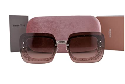 2be9b9ddc59b Image Unavailable. Image not available for. Color  Miu Miu MU01RS Sunglasses  Transparent Pink Glitter ...