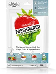 FRESHPAPER Food Saver Sheets for Produce | Keep Fruits & Vegetables Fresh | Perfect for Food Storage, Healthy Meal Prep | BPA