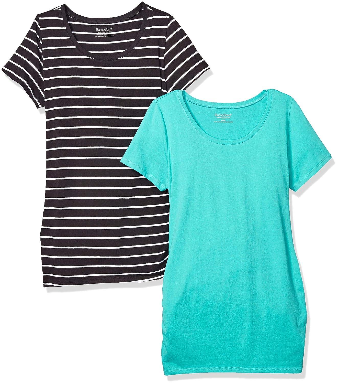 Motherhood Maternity SHIRT レディース B073WX3X3T X-Large|Turquoise/Black & White Stripe Turquoise/Black & White Stripe X-Large