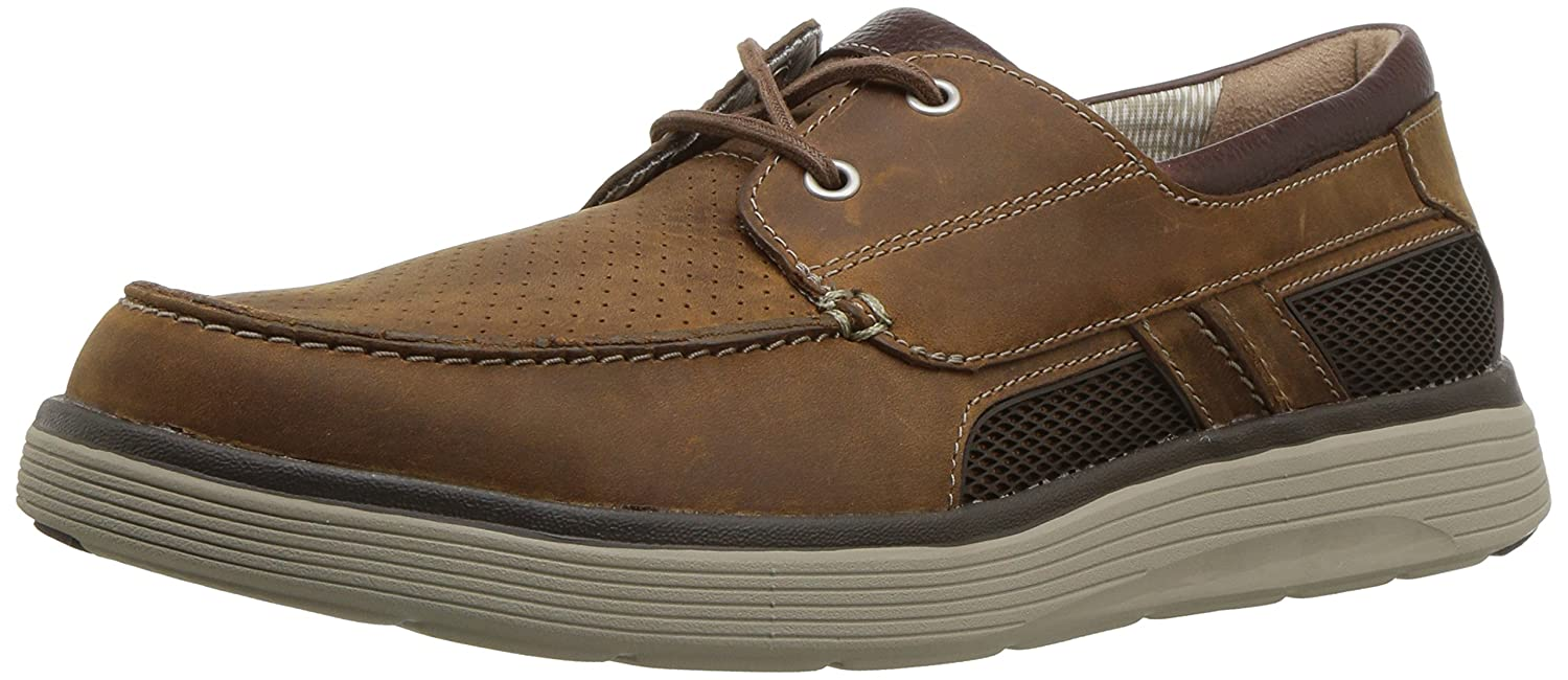 Dark Tan Leather Clarks Men's UnAbode Step Boat shoes