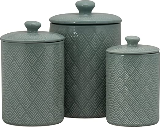10 Strawberry Street CAN BLU Kitchen Canister Set, Set of 3, Marquis Blue