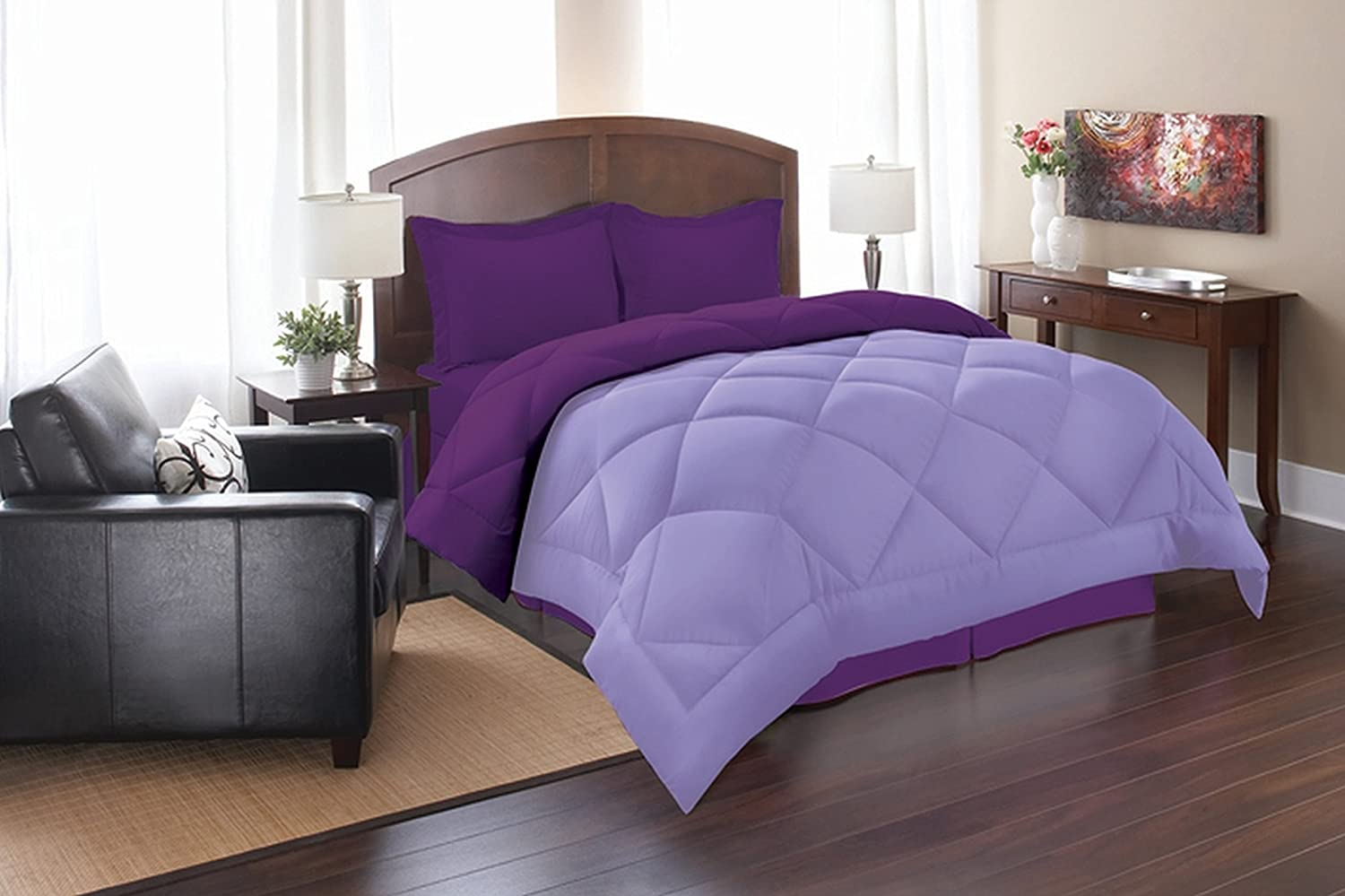 Elegance Linen Super Soft Goose Down 3pc Reversible Alternative Comforter, Queen, Lilac/Purple
